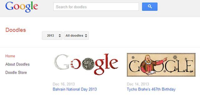 Googleトップ画面の「I'm Feeling Lucky」を押すと過去のDoodlesや、Doodles関連商品が探せるで!